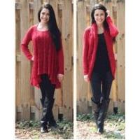 Simply Noelle red Convertible sweater top or cardigan wrap S to XL Top seller!