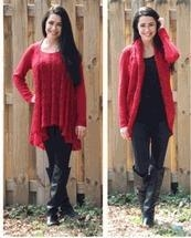 Quality Simply Noelle red Convertible sweater top or cardigan wrap S to XL Top seller! for sale