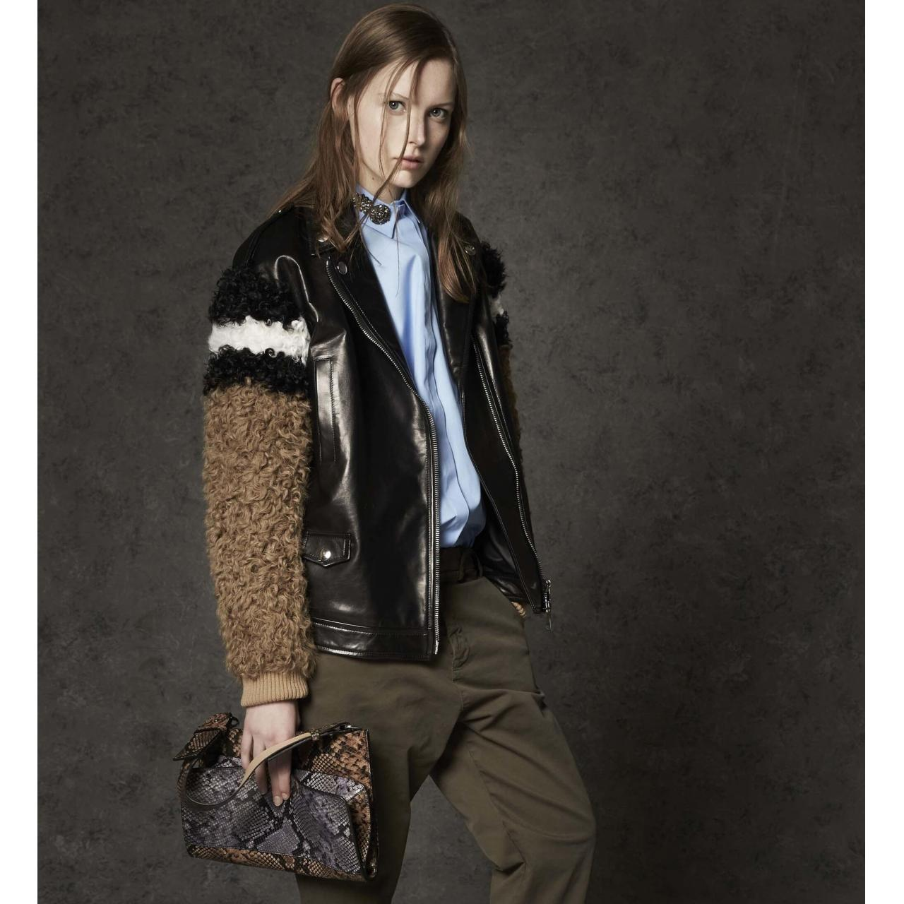 China curly lamb fur leather bomber jacket on sale