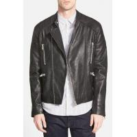 Buy cheap Mens Black Leather Collarless Biker Jacket from wholesalers