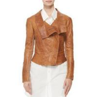 Buy cheap Women Leather Jacket With Ponte Fabric from wholesalers