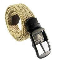 China JasGood Men's Elastic Canvas Woven Stretch Casual Belt With Silver Metal Buckle JA011 wholesale