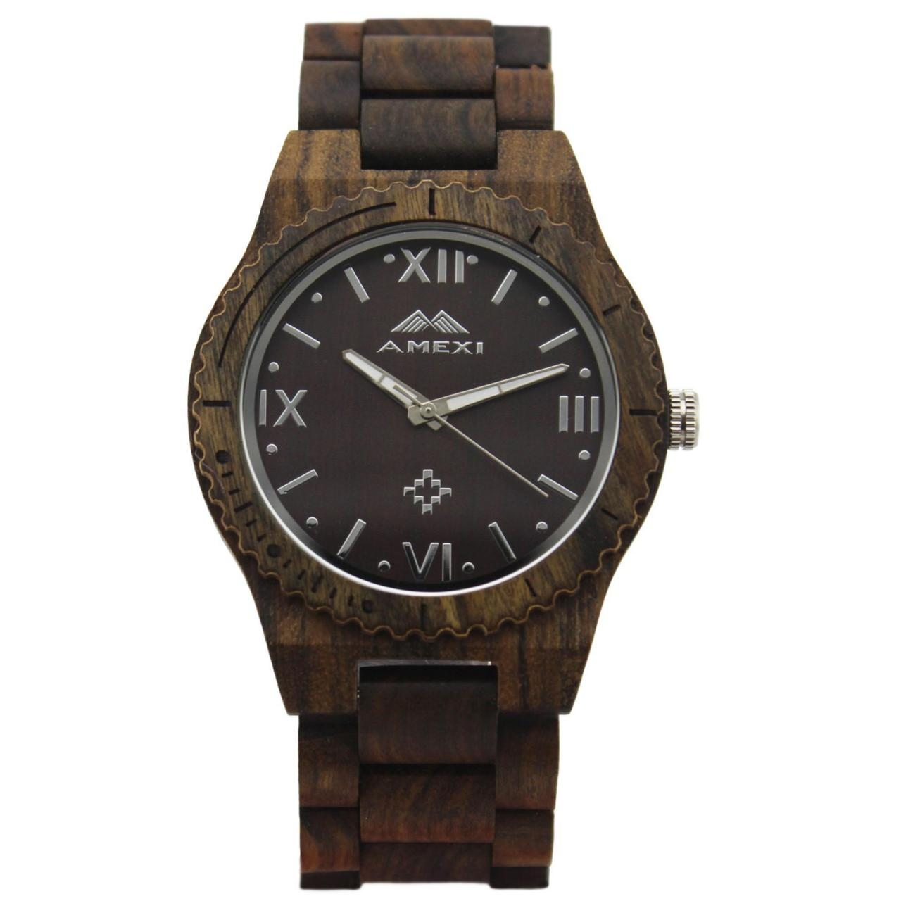 China mens watch Amexi Black Sandalwood Watches Handmade Natural Wood Watch for Men wholesale