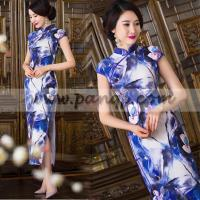 China Blue lotus floral cheongsam long mandarin collar sheath dress wholesale