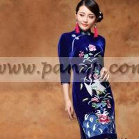 China Blue folk embroidered silk velvet qipao 3 quarter sleeve Chinese cheongsam dress (3 colors) wholesale