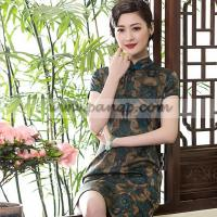 China Blue coffee vintage natural plant dyed Xinag Yun Sha silk qipao wholesale