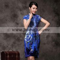 China Blue chrysanthemum floral velvet qipao short Chinese cheongsam dress (3 colors) wholesale