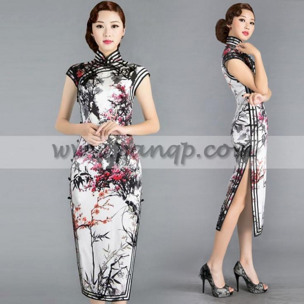 Quality Black white and red Chinese cherry blossom floral qipao handmade summer cheongsam silk dress for sale