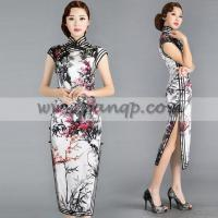 China Black white and red Chinese cherry blossom floral qipao handmade summer cheongsam silk dress wholesale