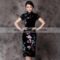 China Black velvet embroidered floral qipao short Chinese cheongsam dress wholesale