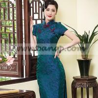 China Blue flower green natural plant dyed XiangYunSha silk qipao wholesale