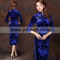 China Blue floral velvet cheongsam 3 quarter sleeve qipao dress wholesale