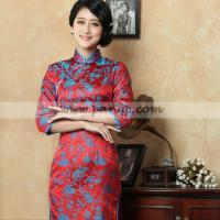 China Blue floral red silk brocade traditional qipao Chinese 3 quarter long sleeves cheongsam dress wholesale