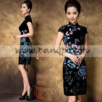 China Blue floral cheongsam short black silk mandarin collar dress wholesale