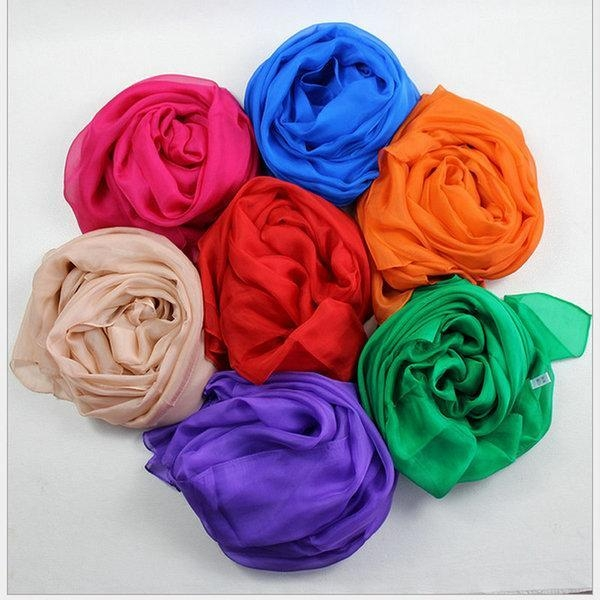Quality Multicolor Silk Chiffon Scarves 100% nature mulberry silk scarf for summer shawl and travel for sale