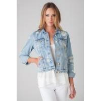 Buy cheap Womens distressed Denim Jacket ladies 100% cotton stone wash denim jacket womens fashion jacket from wholesalers