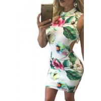 China Best Sellers Retro Floral Print Open Back Sleeveless Mini Dress on sale