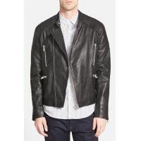 Buy cheap Leather Jacket Mens Black Leather Collarless Biker Jacket from wholesalers