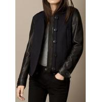 Buy cheap Leather Jacket Women Wool Blend Bomber Jacket With Lambskin Sleeves from wholesalers