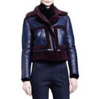 China womens shearling fur-trimed leather jacket wholesale