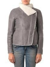 Quality Grey shearling lamb leather jacket for women for sale