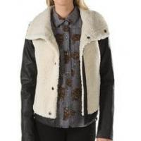 China Hot!! Winter's Women Faux Sherpa Fur Garment with Leather Sleeves wholesale