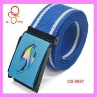 China 2013 new fashion blue color plated buckle canvas belt wholesale