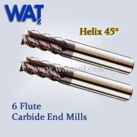 China 6 Flute Carbide End Mills Helix 45 Degree wholesale