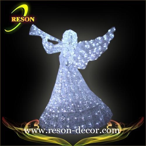 Rs ag outdoor lighted angel decoration of reson decor