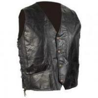 Buy cheap DP Hand-Sewn Pebble Grain Genuine Leather Biker Vest from wholesalers