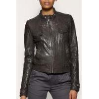 Buy cheap Womens Khaki Graphite Leather Jacket from wholesalers