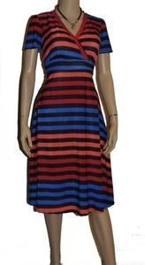 Quality Dresses Womens Plus Size 3X 18/20 Blue Red Orange Wide Striped Empire Top Sunny Dress for sale