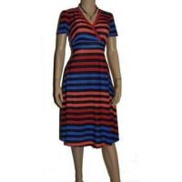 China Dresses Womens Plus Size 3X 18/20 Blue Red Orange Wide Striped Empire Top Sunny Dress wholesale