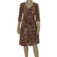 Dresses Brown Peacock Womens PLUS SIZE Clothing 3X 22/24 Print Pull On Wrap Top Dress