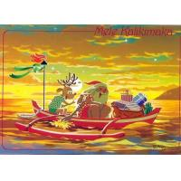 China Christmas Cards - Great Creations - X1124 / Santa Reindeer Sunset Paddle on sale