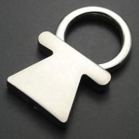 girl shape pull out keyring metal keychain