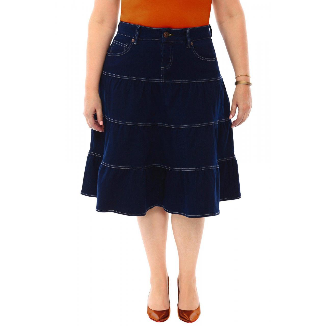Filter 360 Stretch Midi Tiered Circle Skirt in Blue Depths