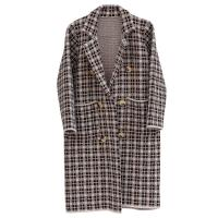 Women's Thick Plaid Knitted Long Cardigan Sweater Winter-OC001