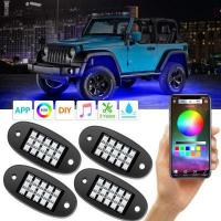 China RGB LED Rock Lights with APP RF Control 4 Pods Multicolor Neon Underglow Waterproof Music Lighting on sale