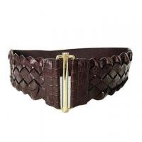 """China Women's 3"""" (75 mm) Wide High Waist Perforated Braided Stretch Engraving Belt wholesale"""