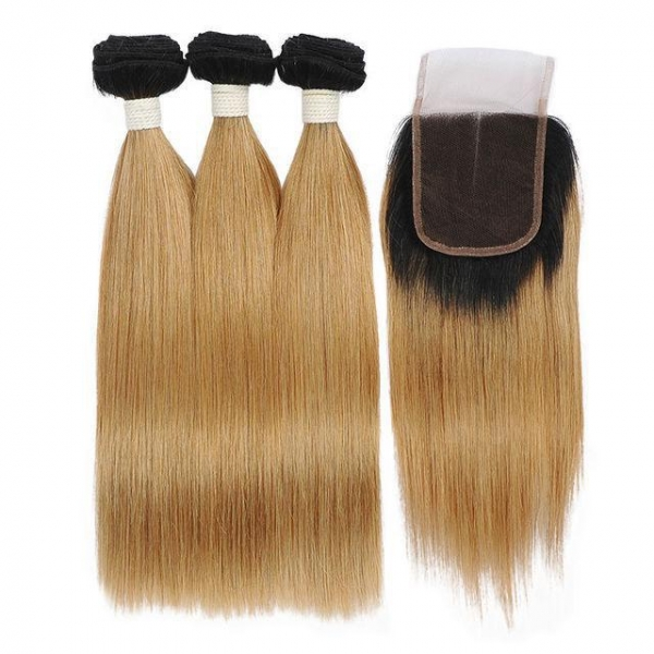 China Hair Natural Looking Brazilian Unprocessed Hair 10A Grade Straight Hair 3 Bundles With Closure